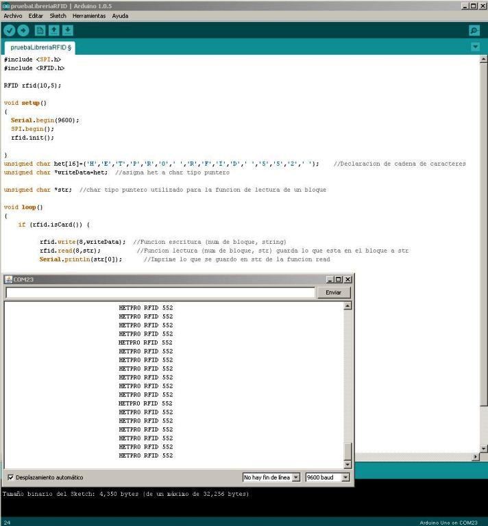 RFID Arduino Lectura Terminal Módulo Lector RFID-RC522 RF